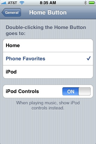 Home button settings